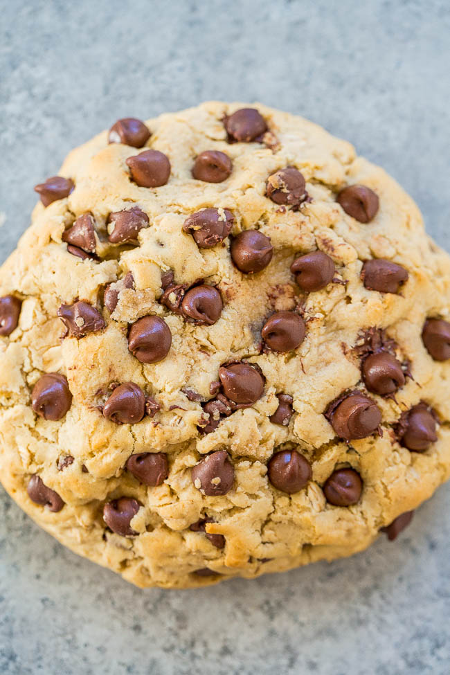 One-Bowl, No-Mixer, Extra-Large Oatmeal Chocolate Chip Cookie - A FAST and EASY recipe for ONE XL soft and chewy very THICK cookie loaded with chocolate!! No mixer needed and so DELISH!!