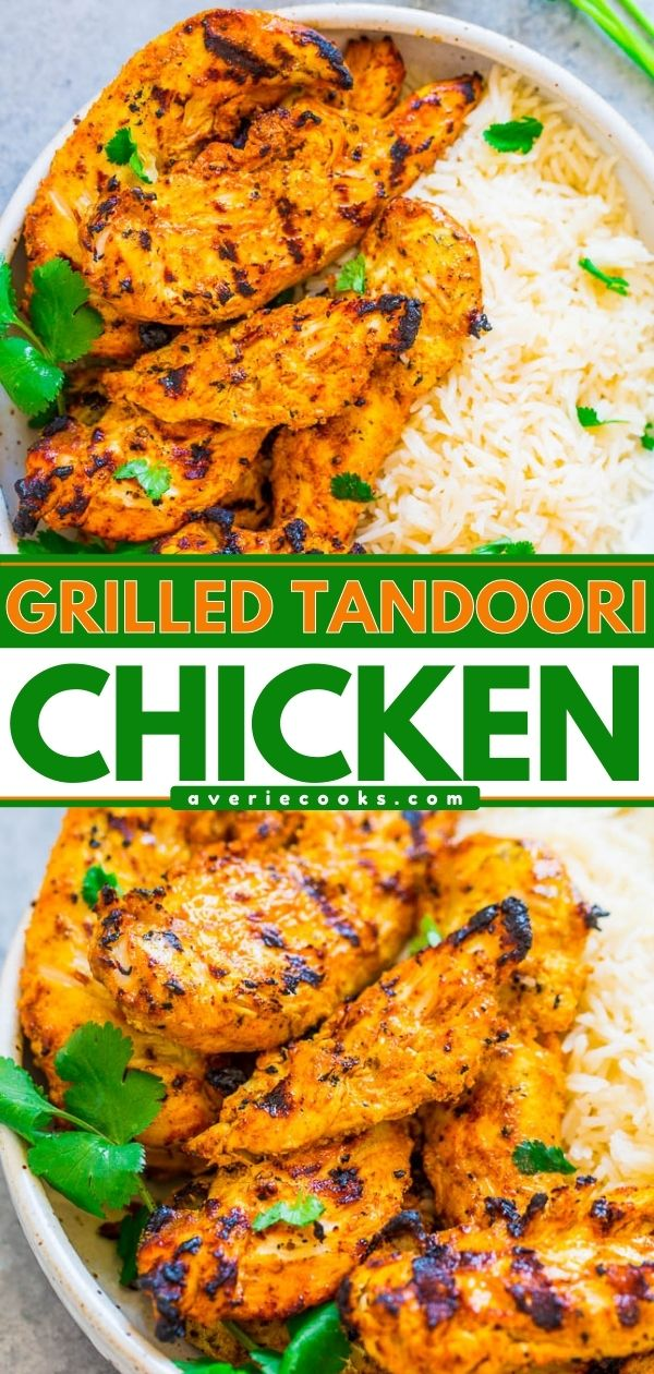 Grilled Tandoori Chicken— Recreate this Indian favorite QUICKLY and EASILY at home! If you're looking for a new spin on grilled chicken, this is THE recipe to try. It's super juicy, flavorful, and you'll LOVE IT!!