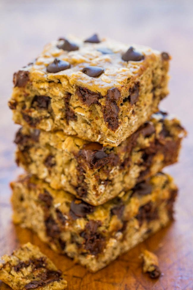 stack of four Banana Oatmeal Chocolate Chip Bars