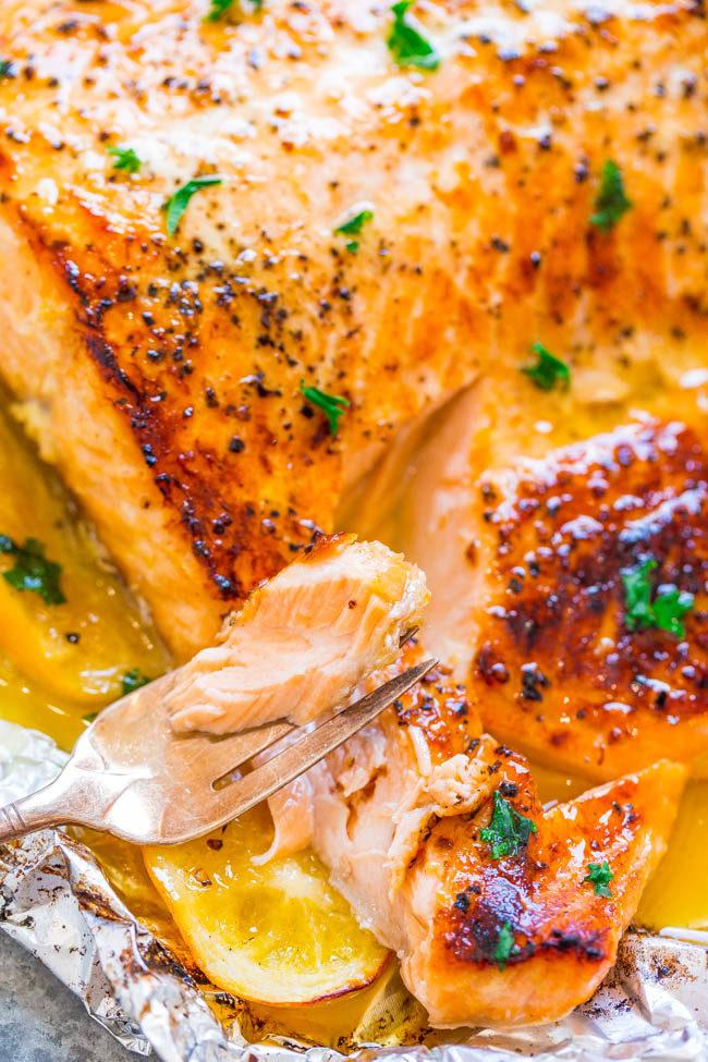 A forkful of Sheet Pan Garlic Lemon Butter Salmon