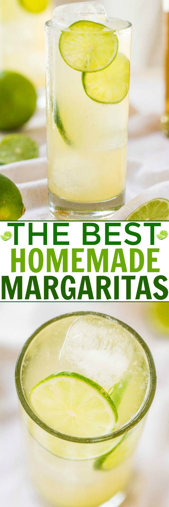 Homemade Margaritas — How to make the best margarita with just three natural ingredients! Nothing fake, neon green, and no sugary chemicals. This is the best homemade margarita recipe I've tried and it's the easiest!!