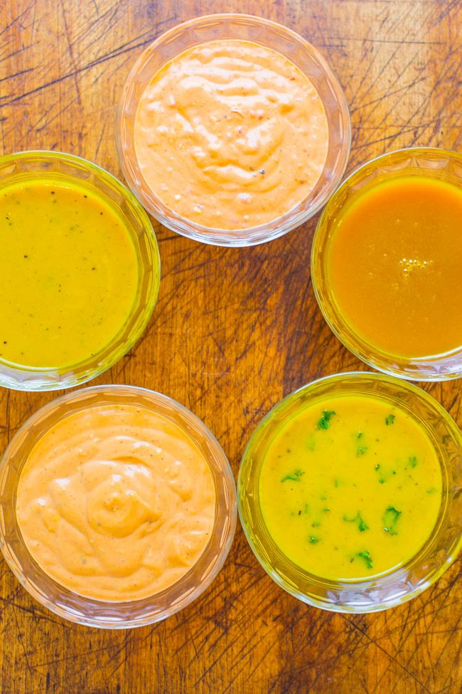 5 Easy Mustard Sauces, Dips, and Marinades - EASY recipes for everything from salad dressings to chicken marinades!! Mustard is so VERSATILE and the star of the show in these FAST recipes that will transform the FLAVOR in your favorite dishes!!