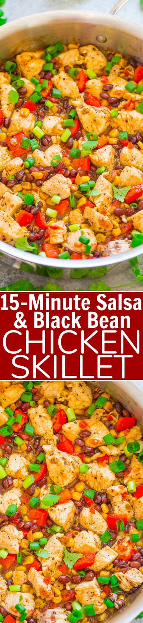 15-Minute Salsa and Black Bean Chicken Skillet - Fast, EASY, family-friendly, healthy yet hearty, naturally gluten-free, Mexican-inspired meal!! The PERECT recipe to jazz up your usual weeknight chicken dinner!!