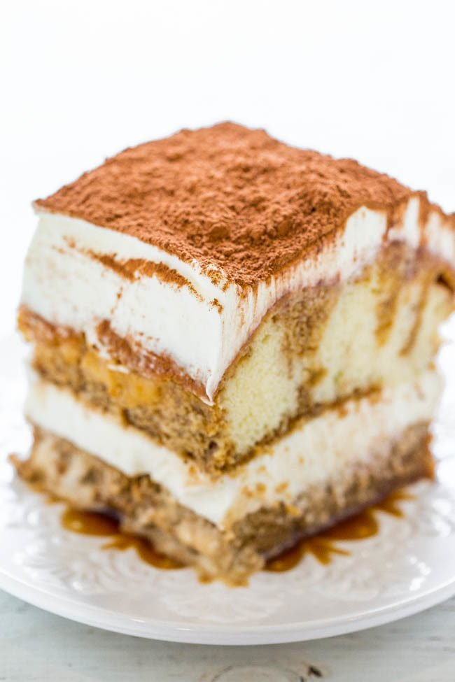 Easy No-Bake Tiramisu on a white plate