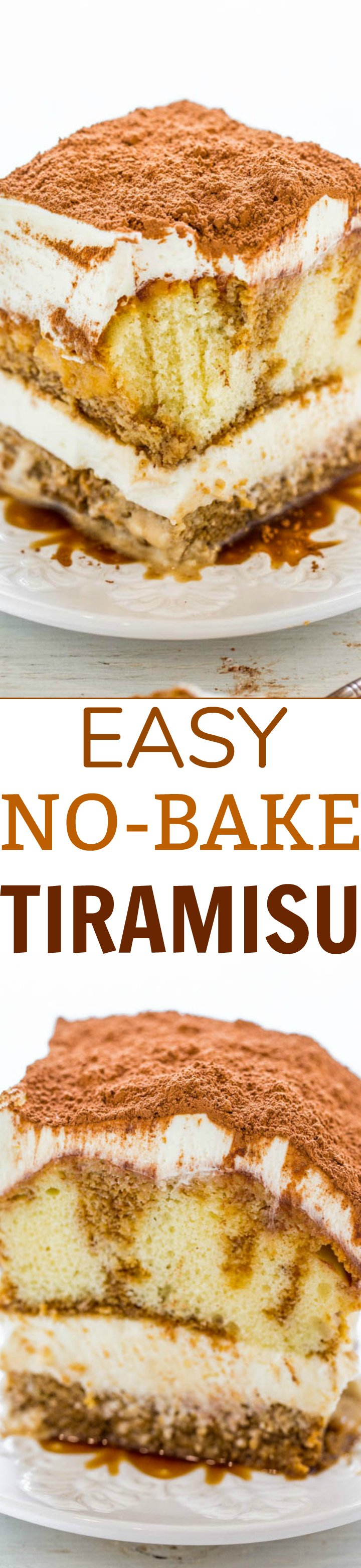Easy No-Bake Tiramisu - FAST, no-bake, and infused with the richness of espresso, Kahlua, a luscious creamy filling, and dusted with cocoa powder!! Decadent and authentic but SO EASY!!