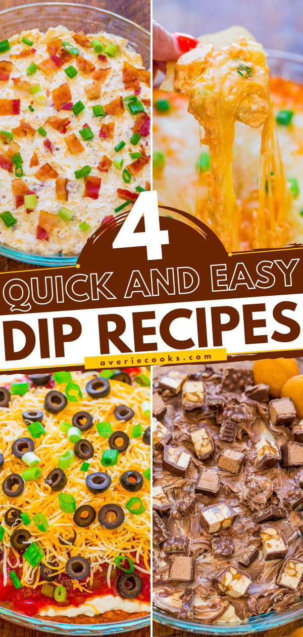4 Easy Dips Paired with 4 Beers – Buffalo Chicken Dip with Blue Moon Mango Wheat, Taco Dip with Sol, Bacon Ranch Dip with Coors Banquet, and Chocolate Candy Bar Dip with Leinenkugel's Snowdrift Vanilla Porter!! Three savory dips and one sweet dessert dip! FAST, EASY, and guaranteed to be hits at your next party or event!!