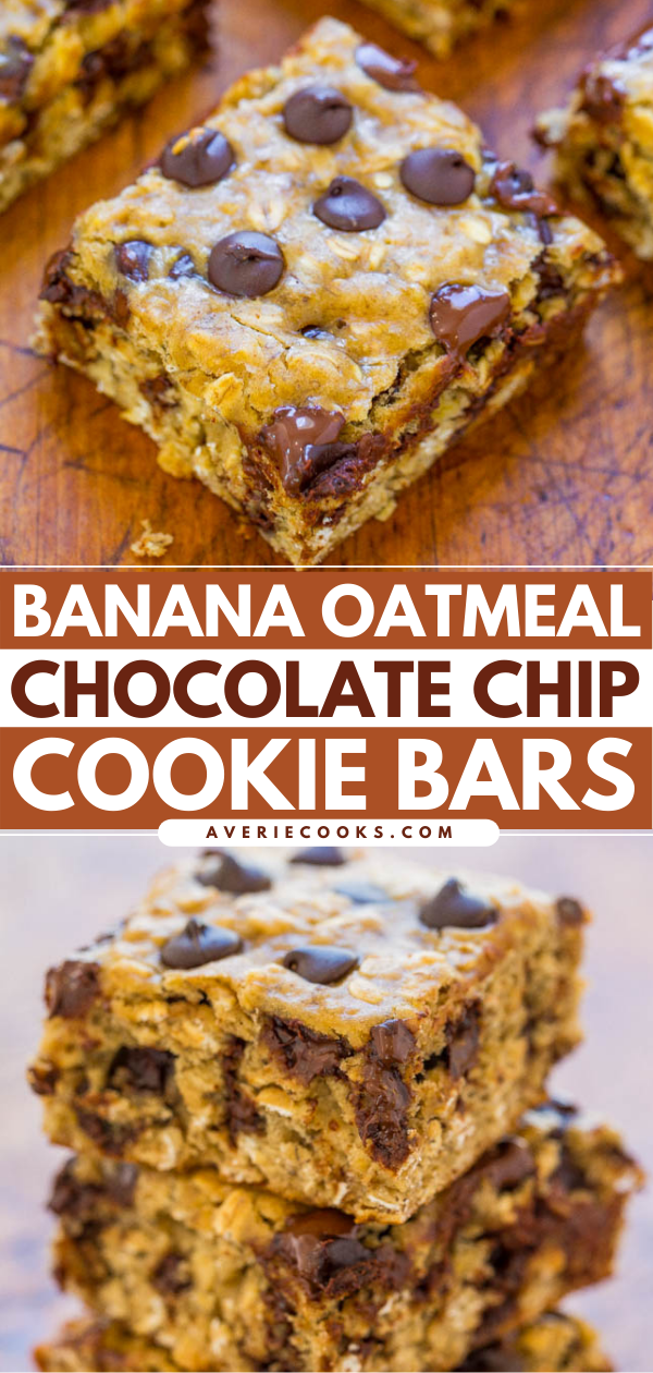 Banana Oatmeal Chocolate Chip Bars — A FAST and EASY dessert that is on the HEALTHIER side with only 1/4 cup butter and no oil!! Bold banana flavor, chewiness from the oats, and plenty of chocolate in every bite!!