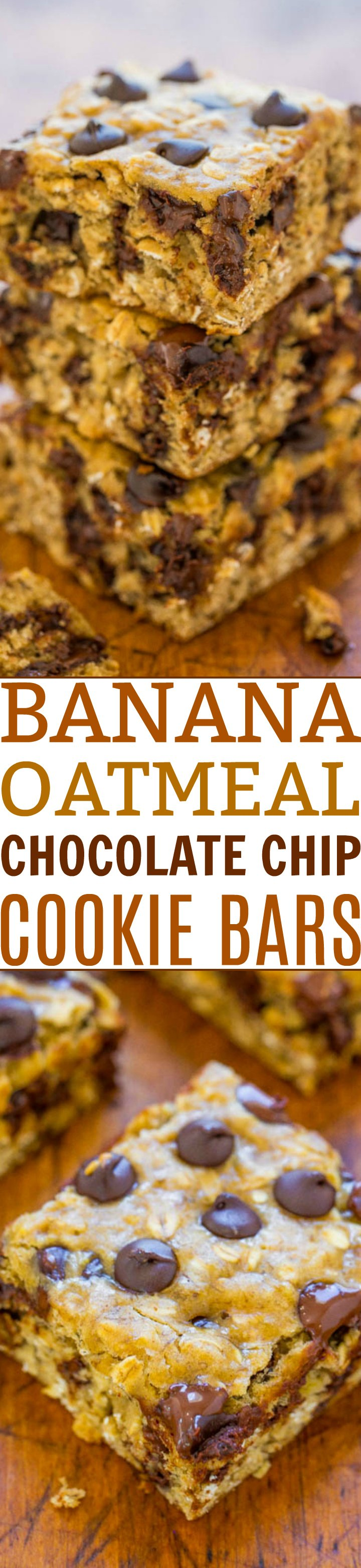 Banana Oatmeal Chocolate Chip Cookie Bars - A FAST and EASY dessert that is on the HEALTHIER side with only 1/4 cup butter and no oil!! Bold banana flavor, chewiness from the oats, and plenty of chocolate in every bite!!
