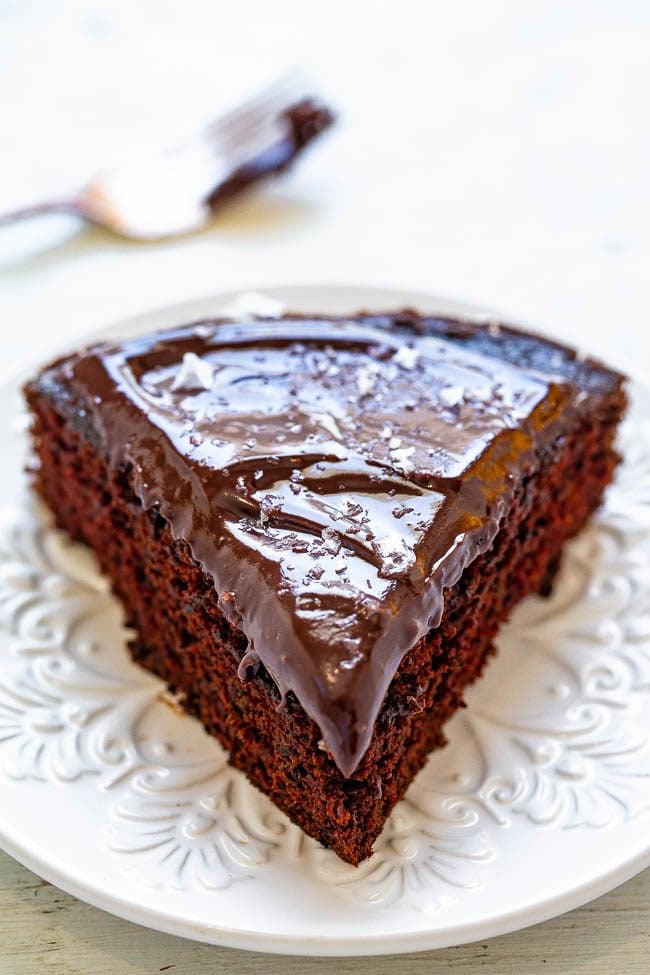 Cabernet Chocolate Cake With Chocolate Ganache And Sea Salt