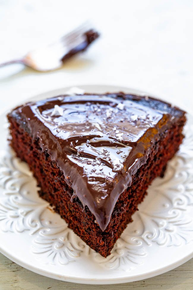 Cabernet Chocolate Cake With Chocolate Ganache And Sea Salt - Now you don't have to choose between dessert or wine since this is BOTH!! Rich chocolate cake spiked with Cabernet and topped with a silky ganache that also has Cabernet in it! Divine, amazing, MAKE THIS CAKE!!