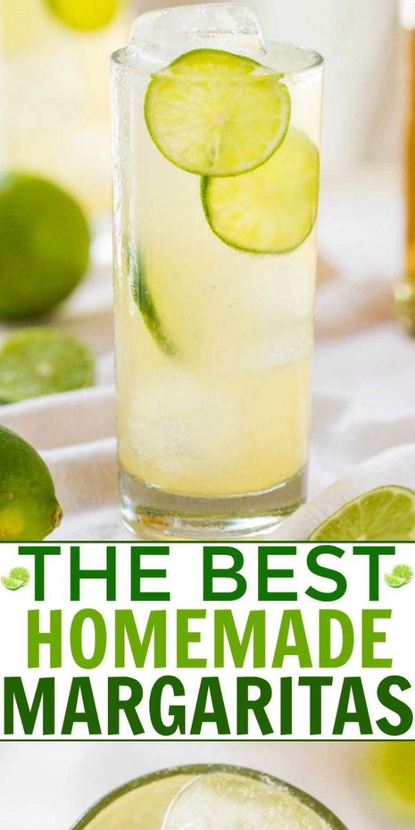 Homemade Margaritas—How to make a margarita with just three naturalingredients! Nothing fake, neon green, and no sugary chemicals. This is the best homemade margarita recipe I've tried and it's the easiest!!