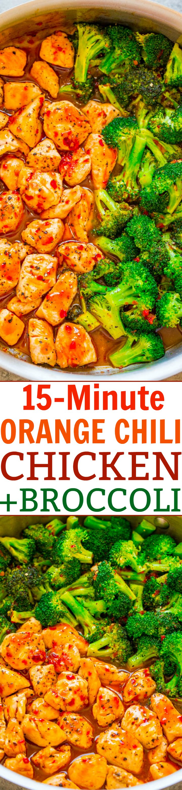 15-Minute Orange Chili Chicken and Broccoli - The orange chili sauce is spicy, tangy, and sweet all in one!! The PERFECT sauce to jazz up chicken and broccoli! A FAST and EASY dinner with great Asian FLAVOR!!