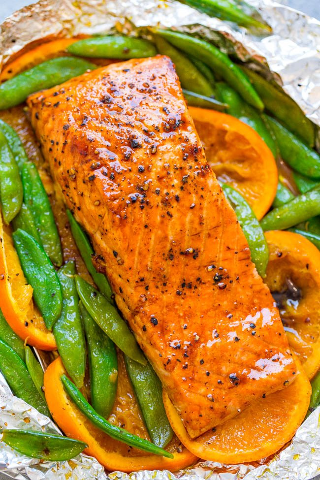 Foil Pack Orange Molasses Salmon - EASY, ready in 10 minutes, and a FOOLPROOF way to make grilled salmon!! Tender, juicy, and bursting with layers of FABULOUS flavors!!