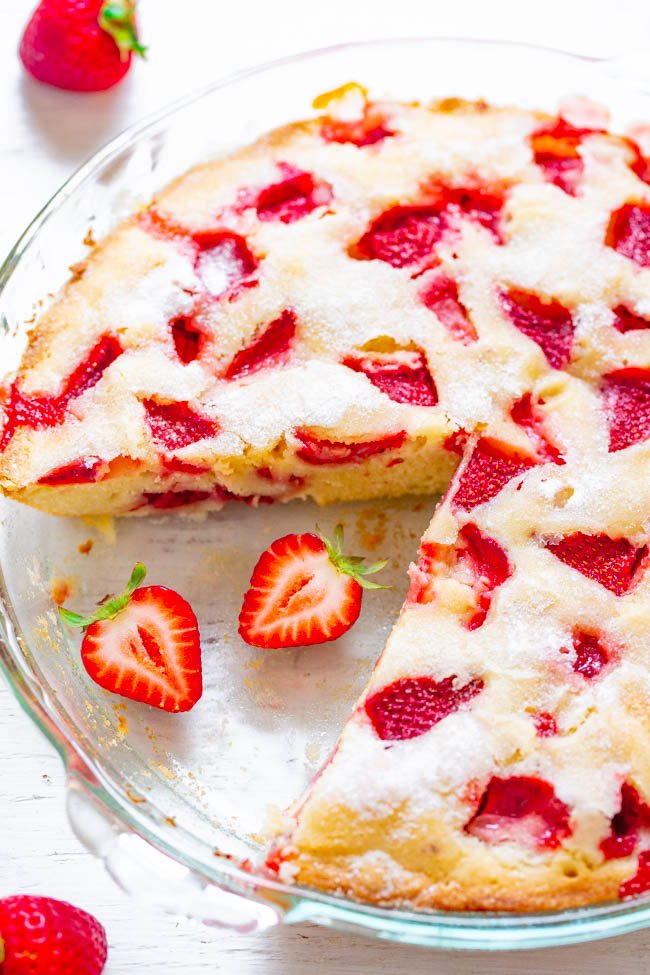 Crustless Fresh Strawberry Pie - FAST, super EASY, no-mixer dessert that's perfect for summer entertaining, picnics, or potlucks!! Somewhere in between pie, cake, and blondies is what you get with this FABULOUS recipe! Take advantage of those FRESH strawberries!!