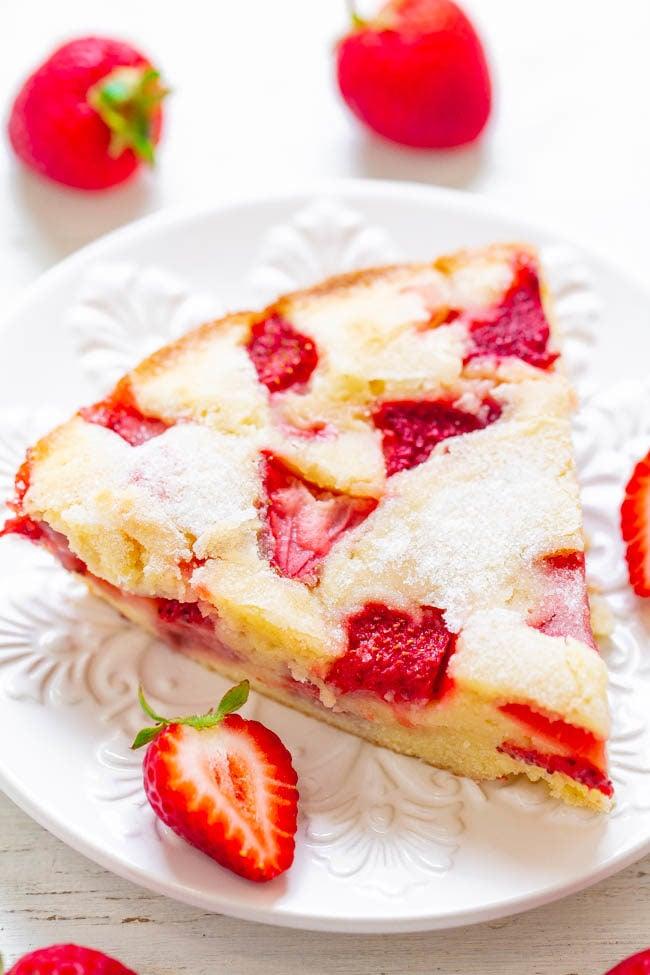 Slice of Crustless Fresh Strawberry Pie on white plate