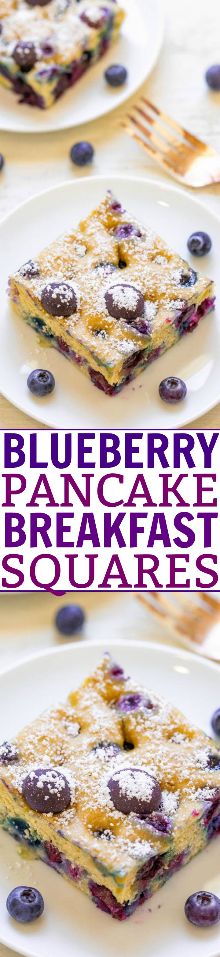 Blueberry Baked Pancakes — Craving pancakes but not the work of standing at the stove flipping them? Make these EASY oven baked pancakes with only THREE ingredients!! Perfect for weekend brunch or as a make-ahead weekday breakfast!!