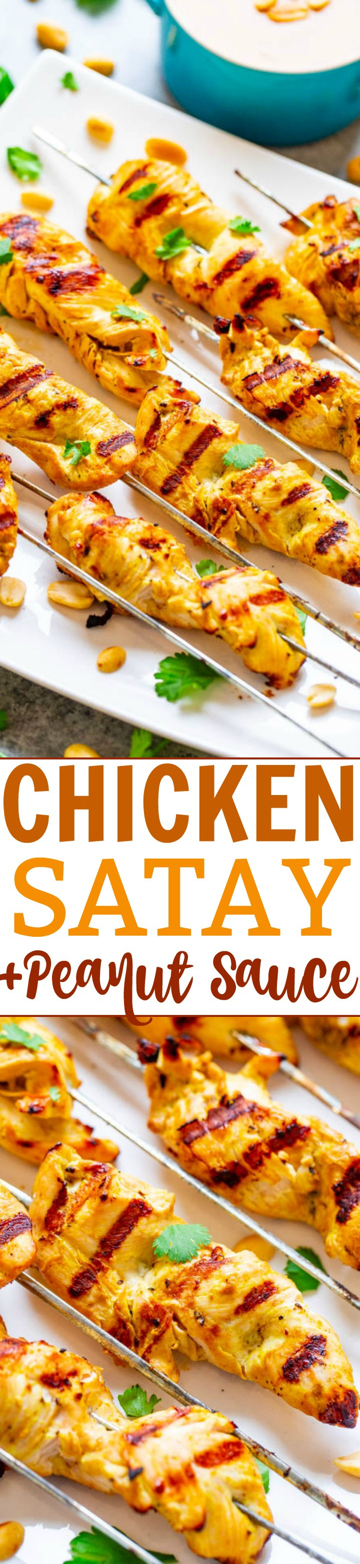 Easy Chicken Satay With Peanut Sauce - Look no further from this FAST and EASY recipe for authentic-tasting Thai chicken satay!! The chicken is so tender and juicy and there's plenty of homemade PEANUT SAUCE to dip it into!!