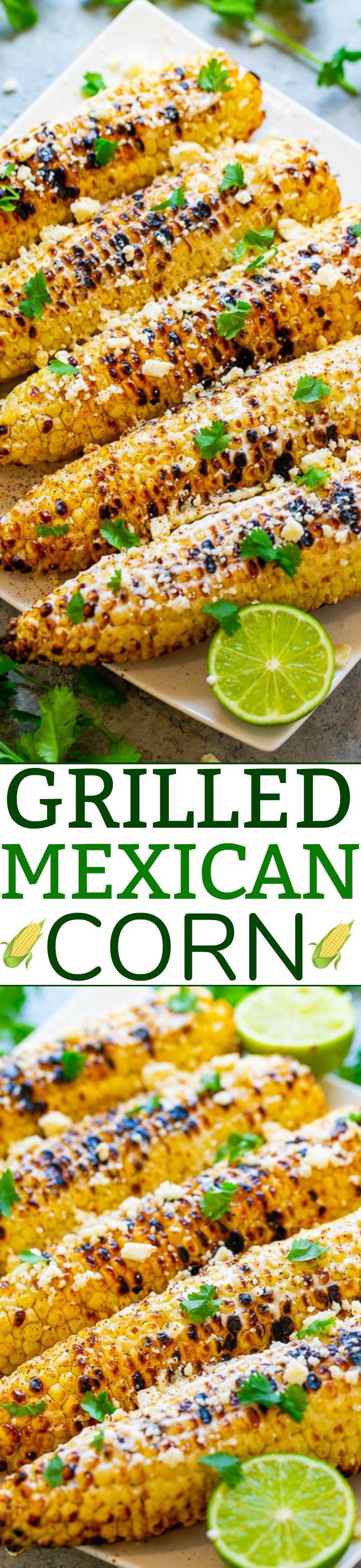 Grilled Mexican Corn (Elote) – Learn how to make this EASY and FLAVORFUL grilled Mexican street corn at home in minutes!! Fresh sweet corn is covered in crema, cheese, and finished with chili, lime juice, and cilantro!!