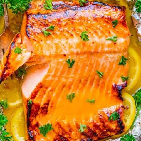 Grilled Honey Lemon Butter Salmon