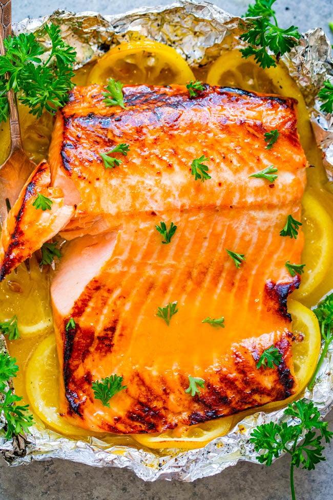 Grilled Honey Lemon Butter Salmon in foil