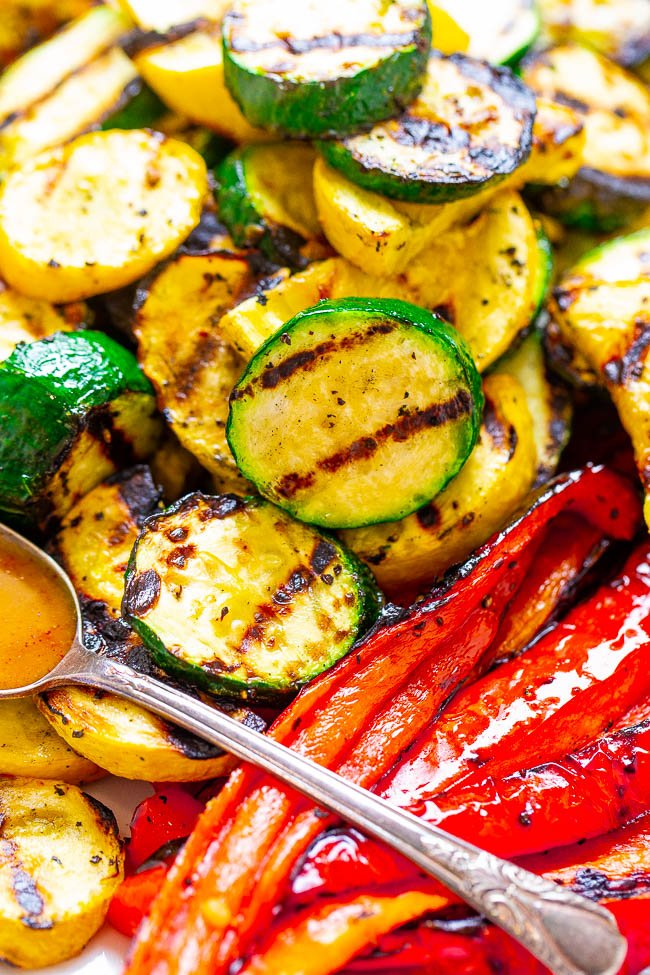 close up of grilled vegetables