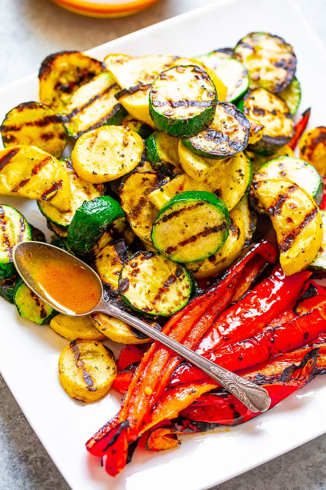 Grilled Vegetables With Smoky Honey Mustard Dipping Sauce - Grilling gives these simply prepared vegetables the perfect amount of smoky flavor and the dipping sauce accentuates that lovely smokiness!! Healthy, fast, EASY, zero cleanup, and ready in 5 minutes!!