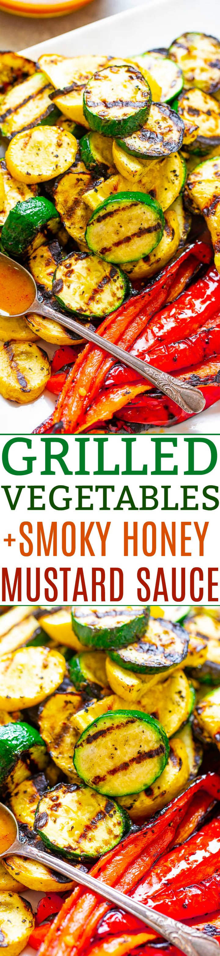 Grilled Vegetables With Smoky Honey Mustard Dipping Sauce -Grilling gives these simply prepared vegetables the perfect amount of smoky flavor and the dipping sauce accentuates that lovely smokiness!! Healthy, fast, EASY, zero cleanup, and ready in 5 minutes!!
