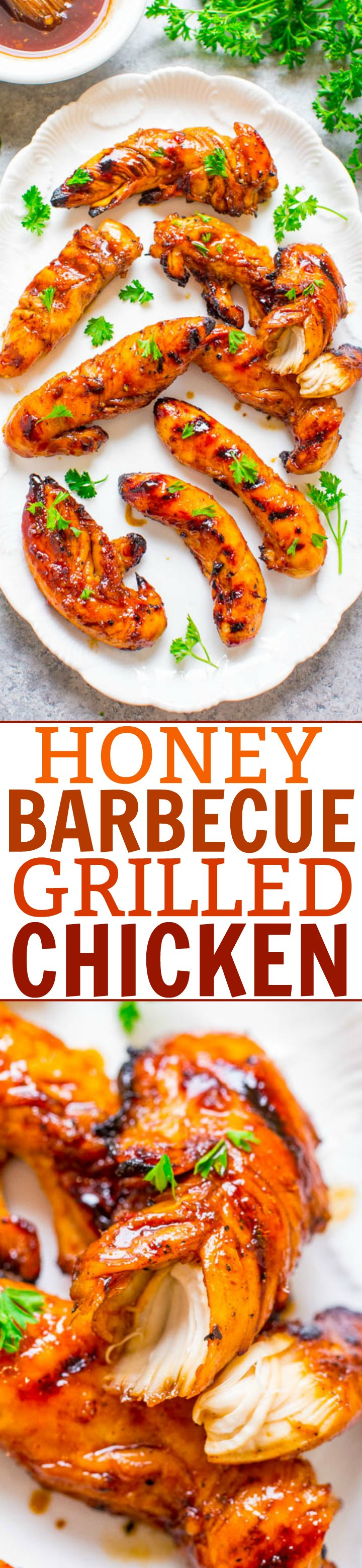 Honey Barbecue Grilled Chicken - Tender, juicy, full of FLAVOR, and a great recipe to jazz up barbecue chicken!! EASY, healthy, ready in 10 minutes, zero cleanup, perfect for backyard barbecues or easy weeknight dinners!!