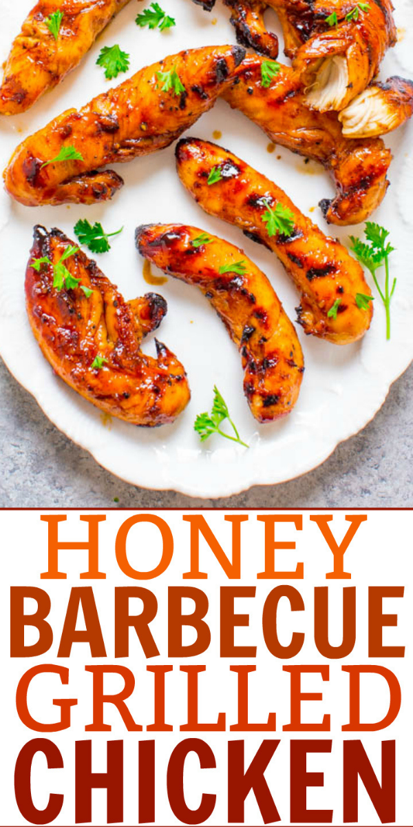 Grilled Honey BBQ Chicken — Tender, juicy, full of FLAVOR, and a great recipe to jazz up grilled bbq chicken. EASY, healthy, ready in 10 minutes, zero cleanup, perfect for backyard barbecues or easy weeknight dinners!