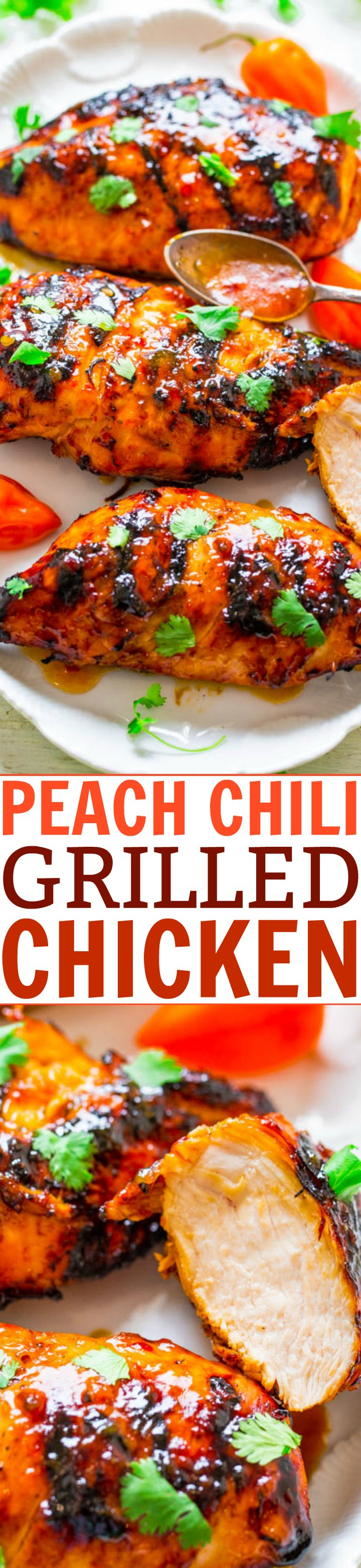 Peach Chili Grilled Chicken -Tender, juicy, and full of FLAVOR from the sweet peach preserves and chili garlic sauce!! The perfect contrast! EASY, healthy, ready in 10 minutes, zero cleanup, perfect for backyard barbecues or easy weeknight dinners!!