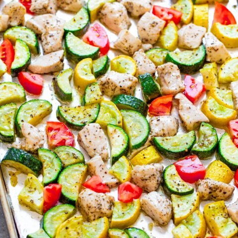 Sheet Pan Summer Vegetables and Chicken