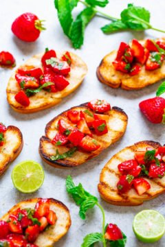Grilled Toast with Strawberry Balsamic Mint Salsa