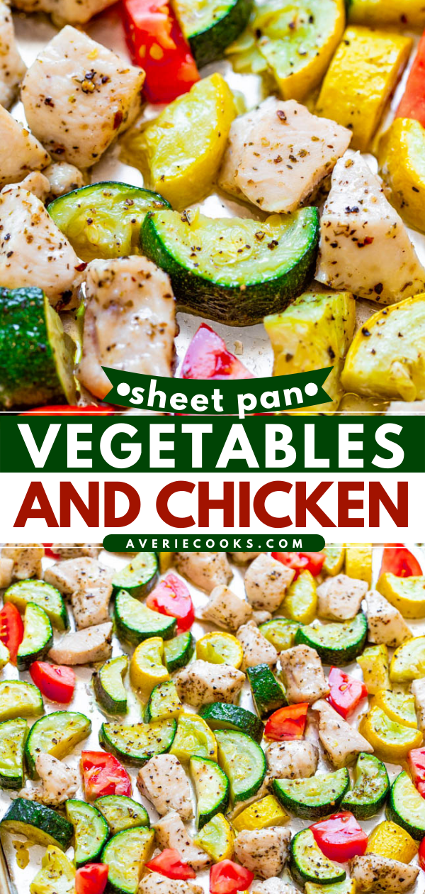 Summer Sheet Pan Chicken and Veggies — Fast, EASY, HEALTHY, and perfect for your seasonal summer zucchini, squash and tomatoes!! A DELISH one-pan meal with zero cleanup that's great for lazy summer days or busy weeknights!!