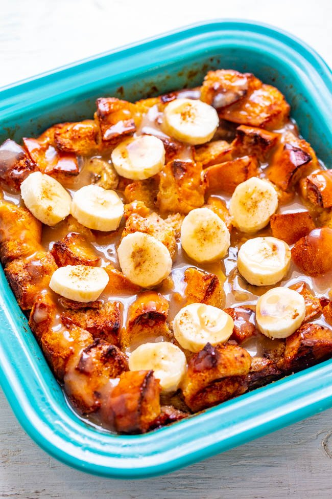 Banana Bread Pudding - Bread pudding meets banana bread in this EASY breakfast or brunch recipe that everyone will LOVE!! Firmer exterior with a custardy interior and an amazing vanilla sauce that is to-die-for!!