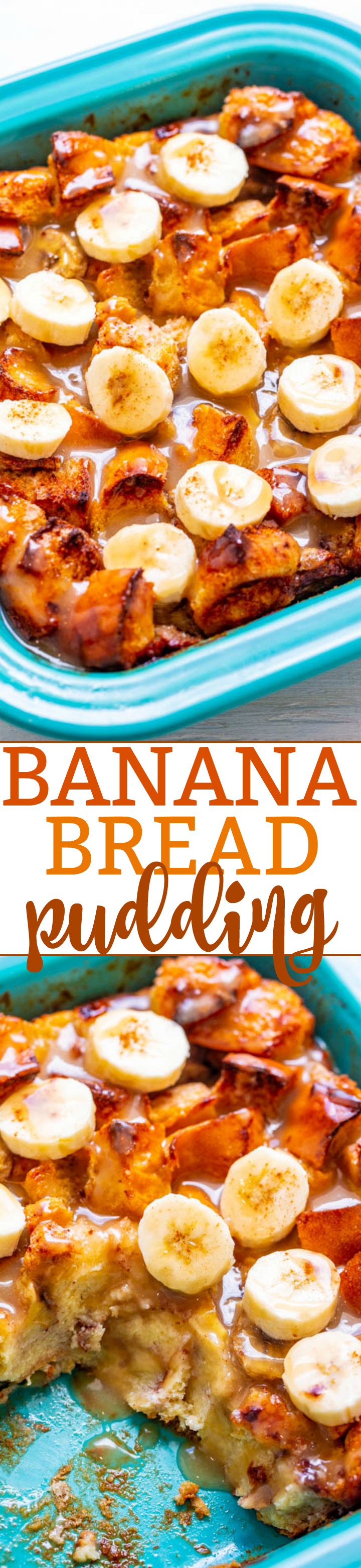 Banana Bread Pudding – Bread pudding meets banana bread in this EASY breakfast or brunch recipe that everyone will LOVE!! Firmer exterior with a custardy interior and an amazing vanilla sauce that is to-die-for!!