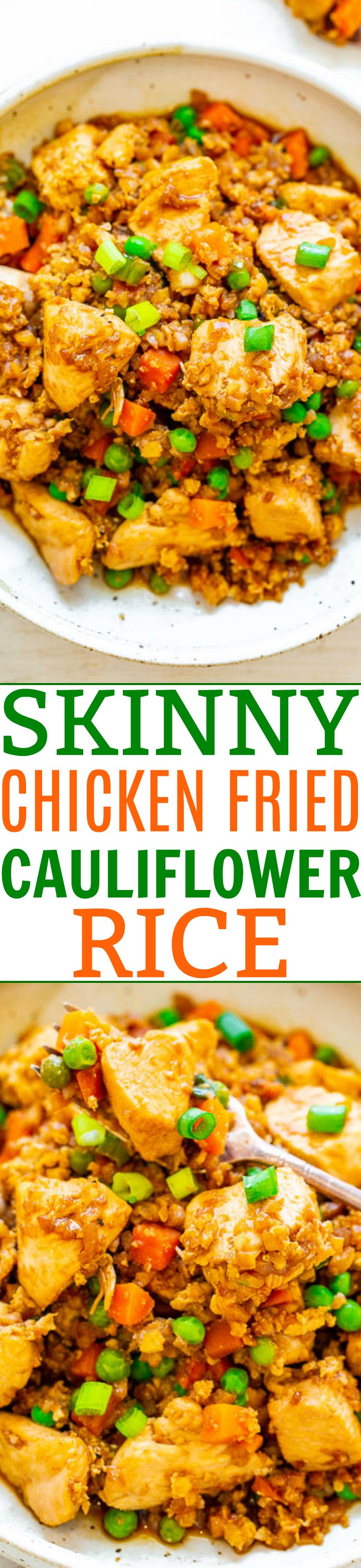 Skinny Chicken and Cauliflower Rice Stir-Fry — Even people who don't like cauliflower will be amazed at how authentic and DELICIOUS this SKINNY version of chicken fried rice tastes!! Easy, ready in 15 minutes, and so much HEALTHIER than calling for takeout!!