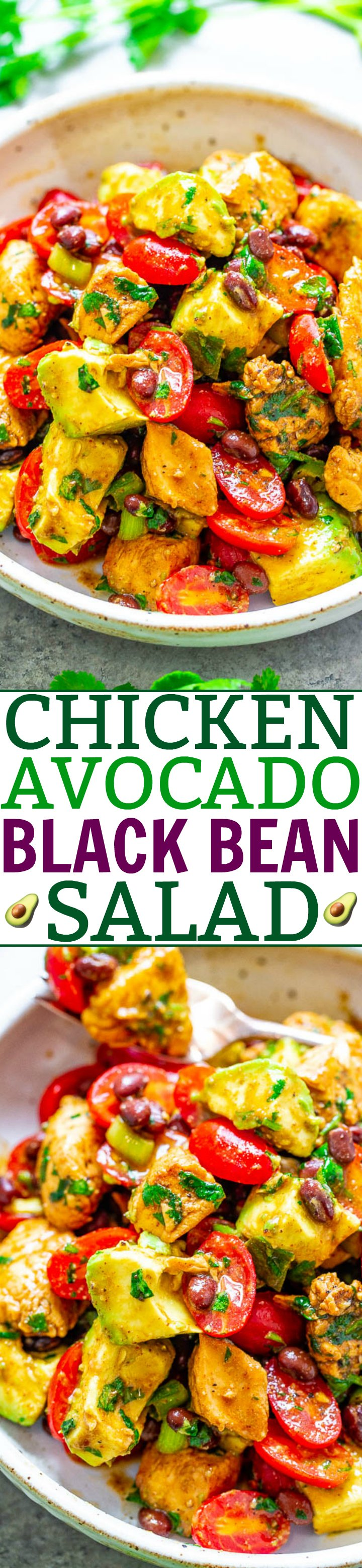 Chicken Black Bean Avocado Salad — A Mexican-inspired salad with tender chicken, black beans, creamy avocado, juicy tomatoes, cilantro, lime juice and more! EASY, ready in 20 minutes, HEALTHY, and packed with fiesta FLAVORS galore!