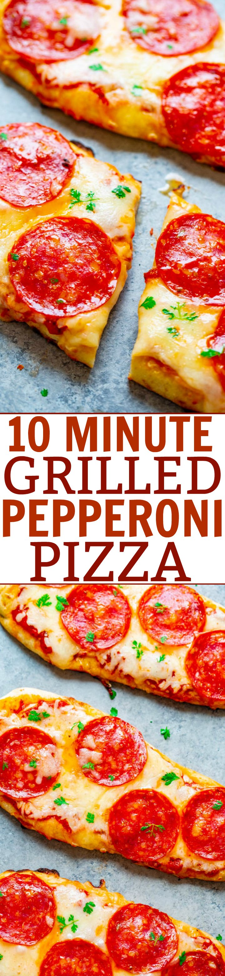 10-Minute Grilled Pepperoni Pizza - The EASIEST and FASTEST pizza you will ever make!! If you've never tried making pizza on the grill, you need to try it! It's foolproof, delicious, faster than calling for delivery, and pizza is always a WINNER!!