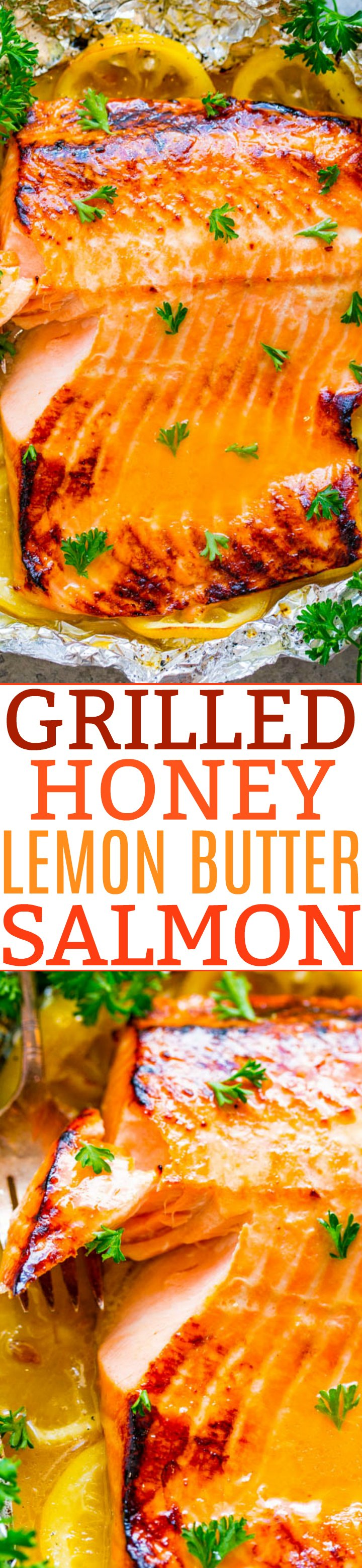 Grilled Honey Lemon Butter Salmon - EASY, ready in 10 minutes, and a FOOLPROOF way to make grilled salmon!! Wonderfully tender, so juicy, just melts in your mouth, and has FABULOUS flavor!!