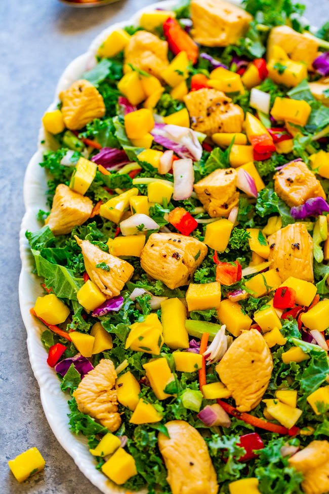 15-Minute Teriyaki Chicken and Mango Salad - Fast, EASY, healthy, and sweet mango is the perfect complement to the savory teriyaki chicken!! Save this recipe for when you need a FRESH and TASTY spin on chicken salad!!