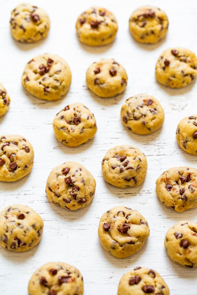 Mini Chocolate Chip Cookies - Soft, chewy, adorable little MINI cookies that are a hit with everyone!! Fast and easy! Bet you can't eat just one!!
