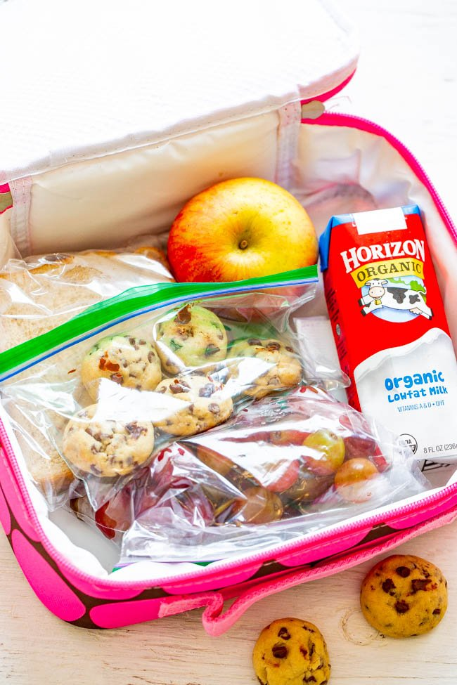 overhead view of child's lunchbox