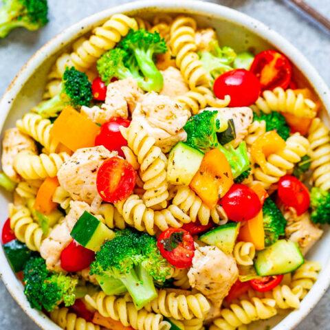 Skinny Italian Chicken Pasta Salad
