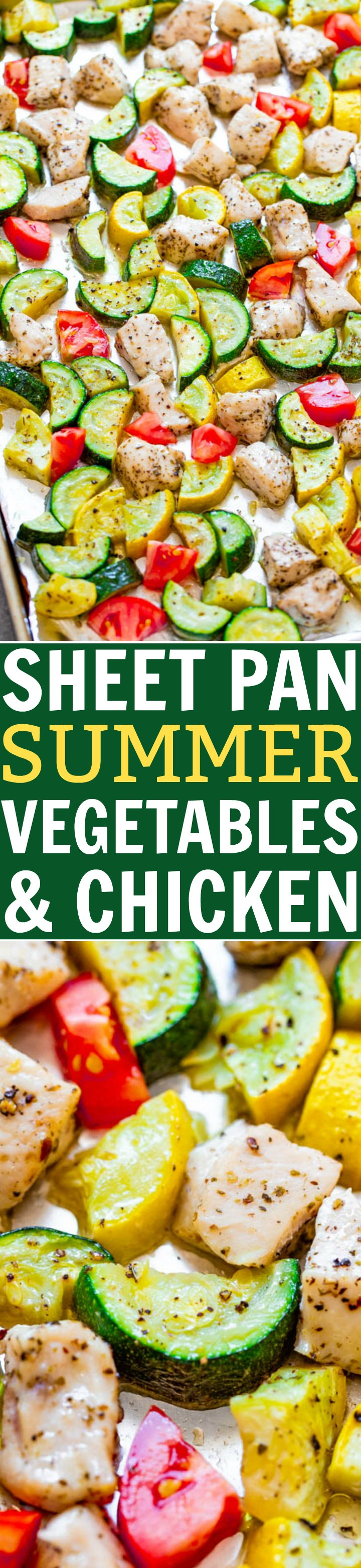 Sheet Pan Summer Vegetables and Chicken - Fast, EASY, HEALTHY, and perfect for your seasonal summer zucchini, squash and tomatoes!! A DELISH one-pan meal with zero cleanup that's great for busy weeknights!!
