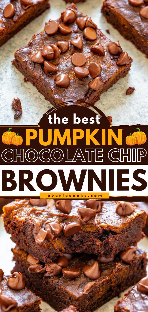 Chocolate Chip Pumpkin Brownies — Rich, fudgy brownies topped with pumpkin and chocolate chips!! An EASY, no mixer pumpkin brownie recipe that's FASTER than using a boxed mix! Bring on pumpkin spice season!!