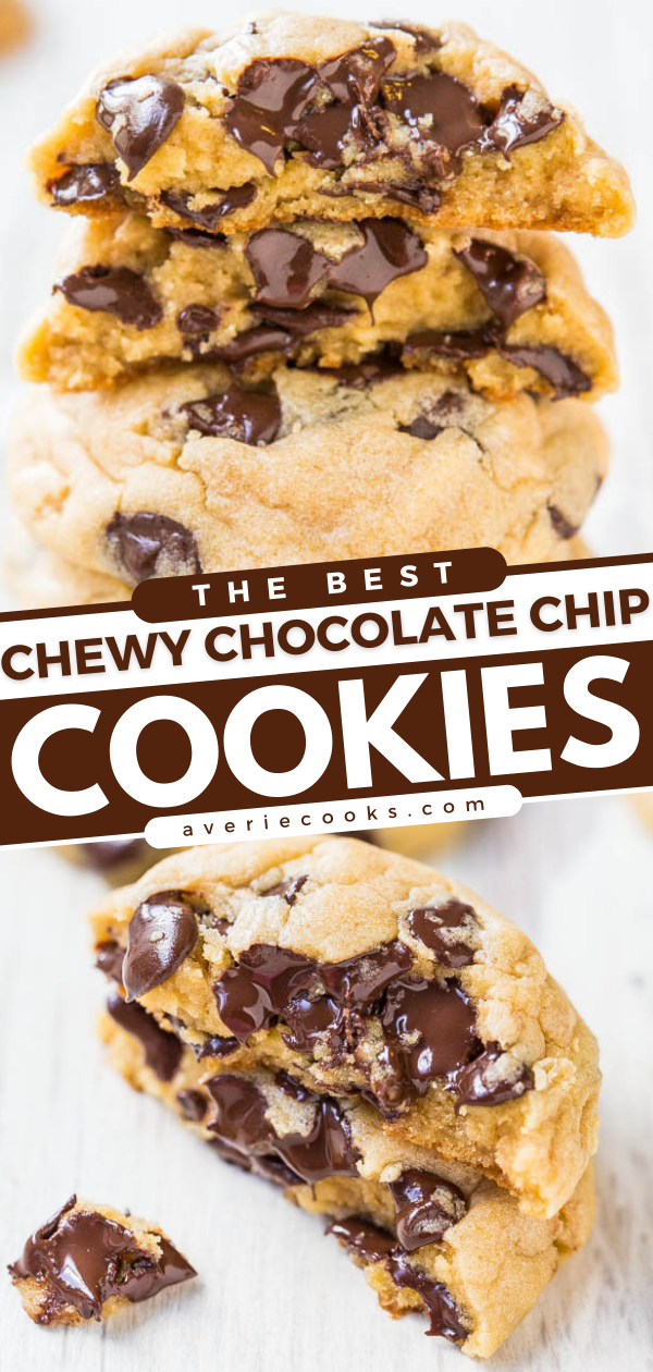 The Best Chewy Chocolate Chip Cookies— One of my absolute favorite recipes for chocolate chip cookies thanks to a special ingredient! Just one bite and I think you'll agree!!