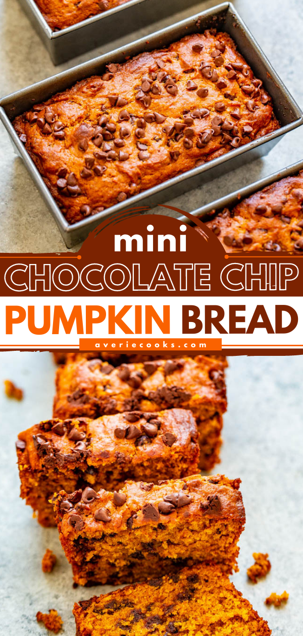 Mini Pumpkin Chocolate Chip Bread— Super soft, tender, moist pumpkin bread that's loaded with chocolate chips!! The mini loaves are EASY, brimming will fall flavors, totally IRRESISTIBLE, and accidentally vegan!!