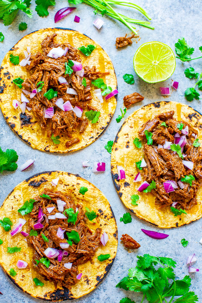 Instant Pot or Slow Cooker Barbacoa Beef - Learn how to make authentic-tasting barbacoa beef in your Instant Pot or slow cooker!! EASY, tastes BETTER than a restaurant, and is a dinnertime WINNER!!