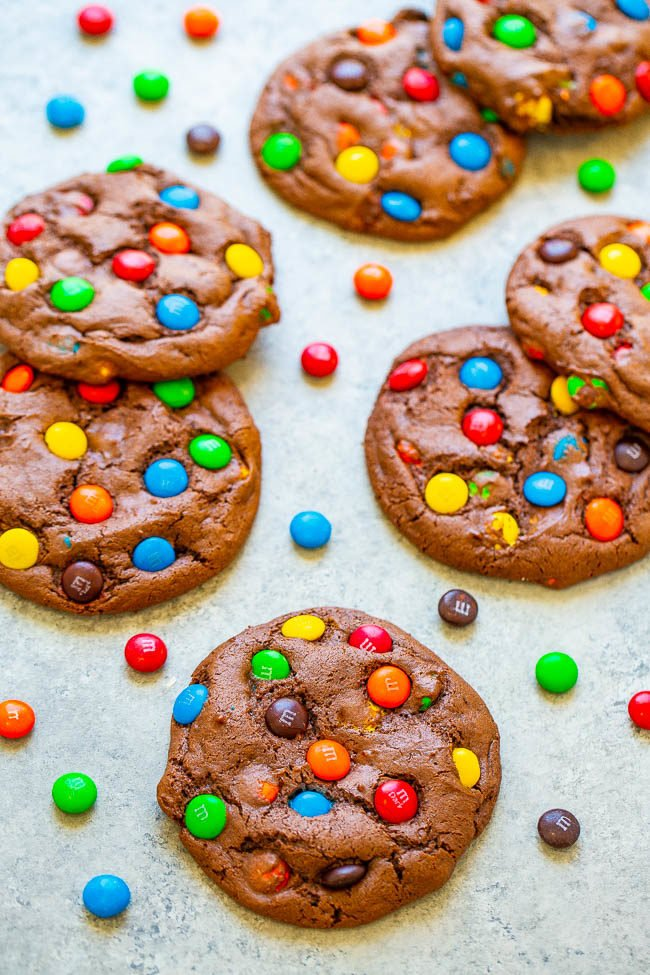 Overhead of M&M's Chocolate Cake Mix Cookies