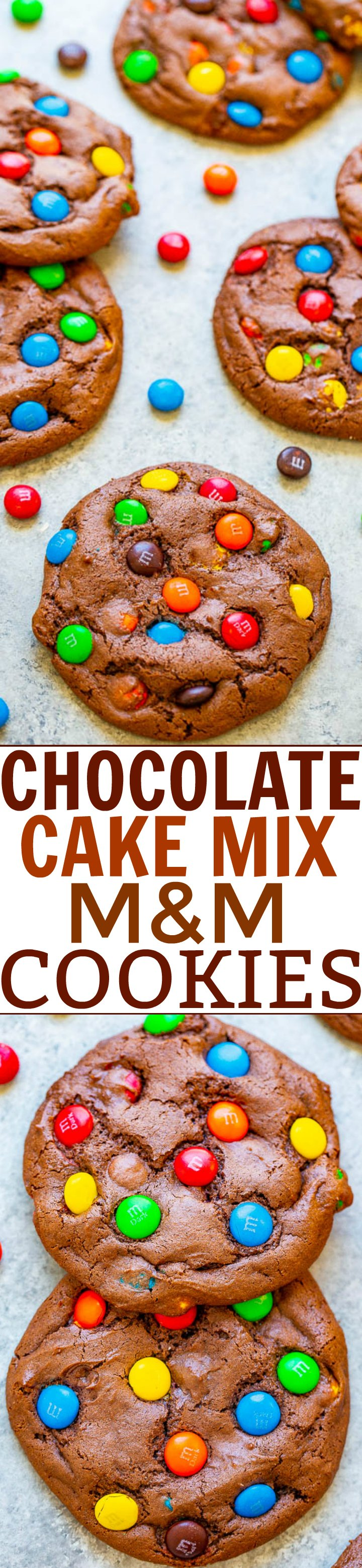 Chocolate Cake Mix M&M Cookies - Foolproof cookies made with just 5 ingredients!! If you're craving chocolate and want to make super EASY cookies that are soft, FUDGY, and delicious, this is the recipe to make!!